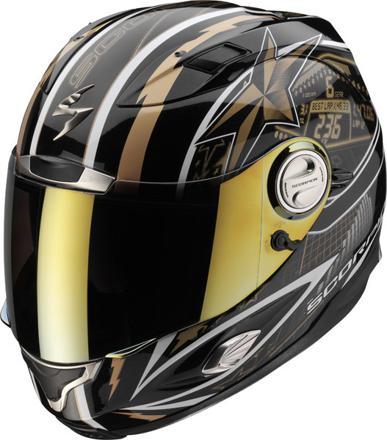 casque moto noir et or
