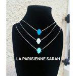 LES LUCILLES Collier Invisible Nylon Main DE FATMA Bleu Turquoise Khamsa Argent 925 Taille AU Choix