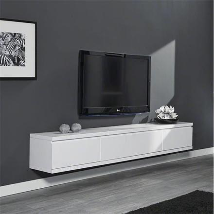 meuble tv blanc laqué suspendu