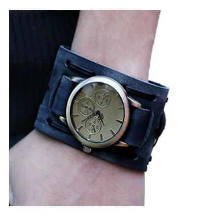 montre bracelet cuir large femme