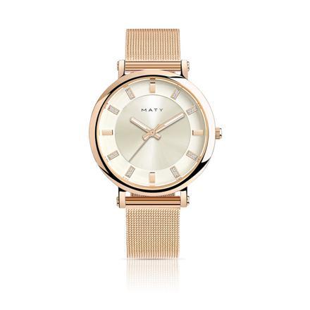 montre femme bracelet acier rose