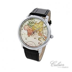 montre homme carte du monde