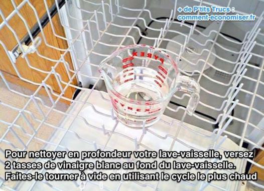 nettoyage lave vaisselle avec vinaigre blanc