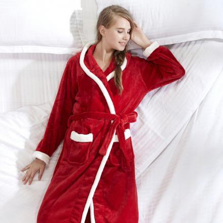 peignoir femme rouge capuche