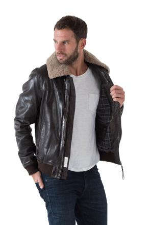 veste en cuir avec fourrure homme