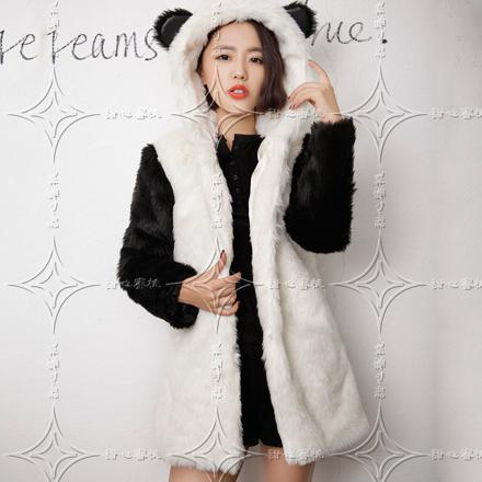 veste panda fourrure