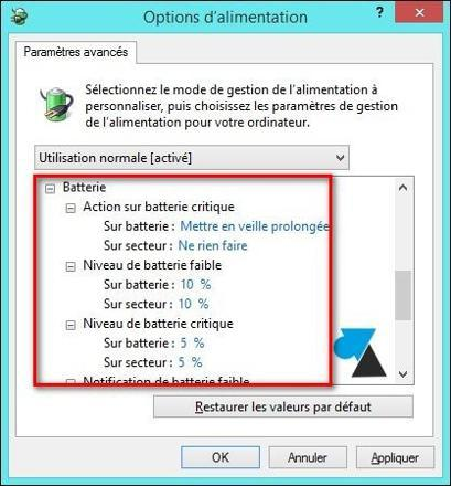 windows 10 niveau batterie